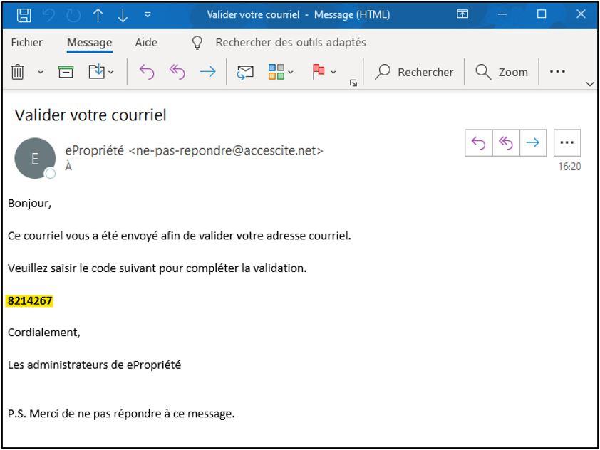 epropriété courriel